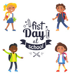 back to school time sticker surrounded by pupils vector image