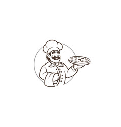 Black chef pizza in circle logo vector