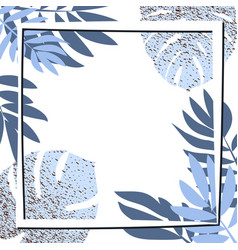 Blue tropical leaves with frame vector