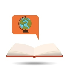 Book open globe map concept school graphic vector
