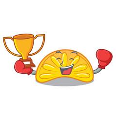 Boxing winner orange jelly candy mascot cartoon vector