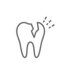 broken tooth dental problem line icon vector image