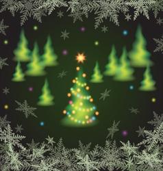 Christmas fir trees and snowflakes vector