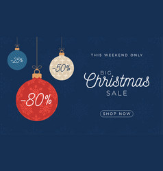 christmas sale card with hanging christmas bauble vector image