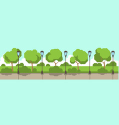 city park street lamp green lawn trees template vector image