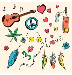 Colorful hand drawn hippie set vector image