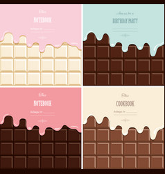 Cream melted on chocolate bar background set cute vector