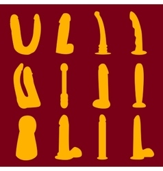 Dildo silhouettes set vector