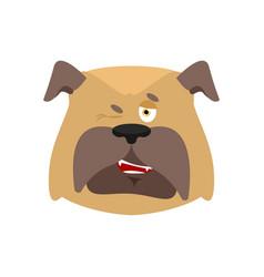 dog wink emoji pet merry emotions bulldog joyful vector image
