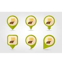 Ears of Wheat Barley Rye Field flat map pin icon vector image