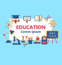 Education horizontal flat banner vector
