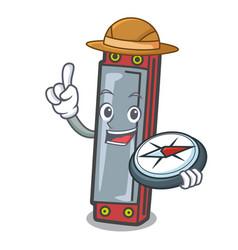Explorer harmonica mascot cartoon style vector