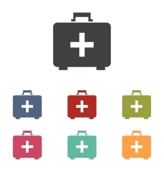 First aid box icons set vector