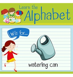 Flashcard letter W is for dwatering can vector image