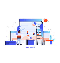flat color modern design - data analysis vector image