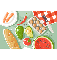 flat set picnic products with bread watermelon vector image