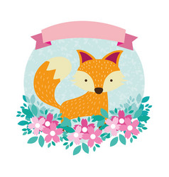 Fox round icon vector