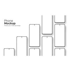 Frameless phone screen mockup isolated vector