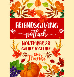 Friendsgiving potluck and thanksgiving symbols vector
