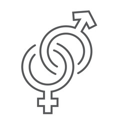 gender signs thin line icon love and sex vector image