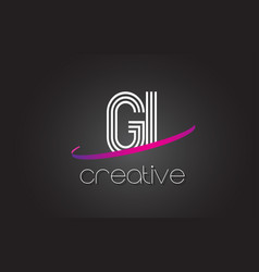 Gi g i letter logo with lines design and purple vector