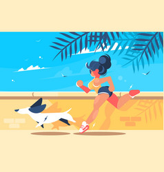 girl with dog running vector image