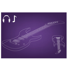guitar on a purple vector image