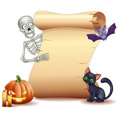 halloween sign with skeleton bat pumpkin vector image