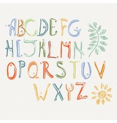 Hand drawn brush letters set Charcoal symbols vector