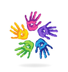 Hands of all color logo vector