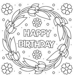 Happy birthday coloring page wreath vector