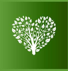 Heart shape tree on green background vector
