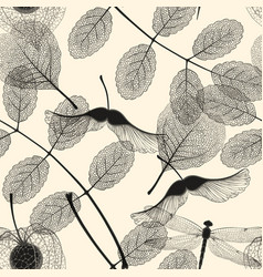 high detail skeleton leaf seamless pattern vector image