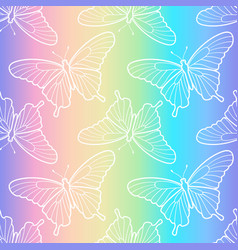 holographic butterfly seamless pattern vector image