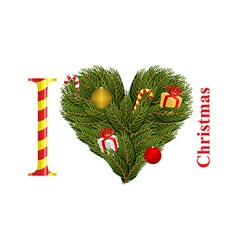 I love Christmas Symbol of heart of FIR branches vector image