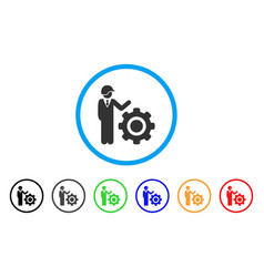 industrial gear engineer rounded icon vector image