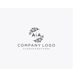 Initial aa letters floral frames monogram wedding vector