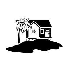 Island house draw vector