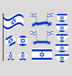 Israel flag set collection of symbols flag vector