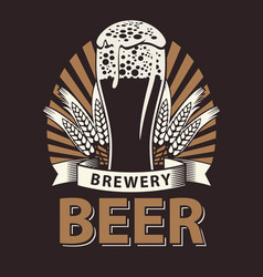 label for beer in brown color vector image