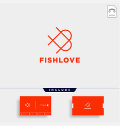love fish logo design icon element isolated vector image