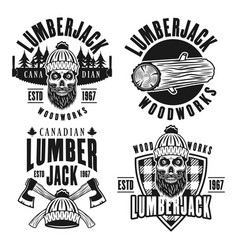 Lumberjack set of black vintage emblems vector
