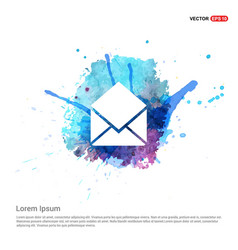 Mail icon - watercolor background vector