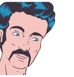 Man mustache pop art avatar retro vintage icon vector