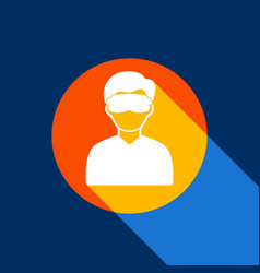 man with sleeping mask sign white icon on vector image
