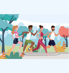 Men and women health exercise and running activity vector
