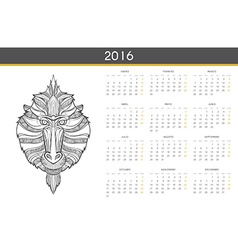 Modern calendar 2016 with monkey in Spanish Ready vector