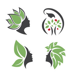 Mother nature logo woman design set vector