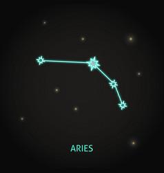 Neon aries zodiac sign on dark background vector
