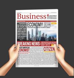 newspaper in hands realistic vector image